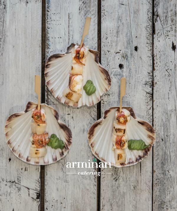Brocheta-vieira-bogavante-Armiñan-Catering